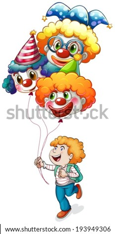 Illustration of a happy young man holding clown balloons on a white background - stock vector