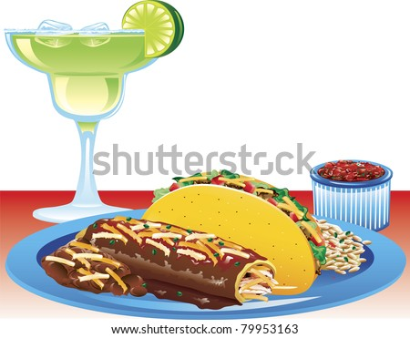 Illustration of a hard taco meal with spanish rice, refried beans, and a magarita. - stock vector