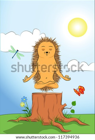 Illustration of a hedgehog sitting on a stump and doing yoga meditation. - stock vector