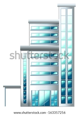 Illustration of a high building on a white background - stock vector