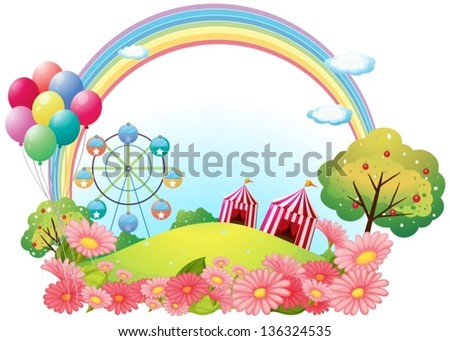 Illustration of a hill with circus tents, balloons and a ferris wheel on a white background