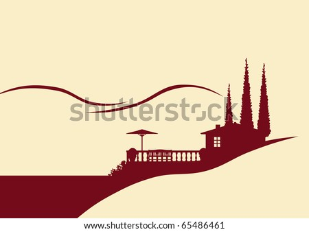 Illustration of a holiday home with terrace - stock vector
