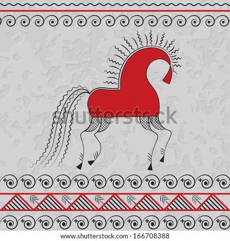 Illustration Horse Style Russian Folk Art Stock Vector 166708388