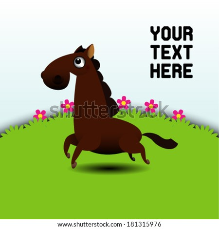 Illustration of a horse running in grassland - stock vector