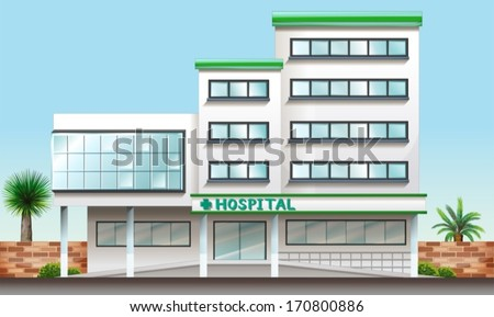Illustration of a hospital building - stock vector