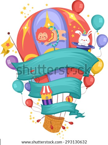 Illustration of a Hot Air Balloon Decorated with Carnival Related Items