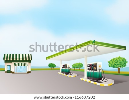illustration of a house and a gas station in a beautiful nature - stock vector
