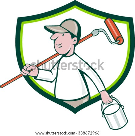 Illustration of a house painter handyman holding paintroller on shoulder and paint can on the other hand viewed from the side set inside shield crest on isolated background done in cartoon style. - stock vector