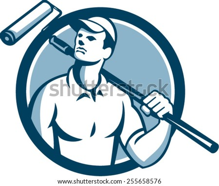Illustration of a house painter holding paint roller on shoulder looking up to the side viewed from front set inside circle on isolated background done in retro style.