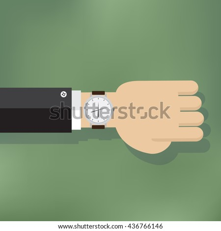 Illustration of a human hand with watch. Time management concept. - stock vector