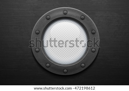 Illustration of a iron porthole with glass on brushed metal background. Rivets mount