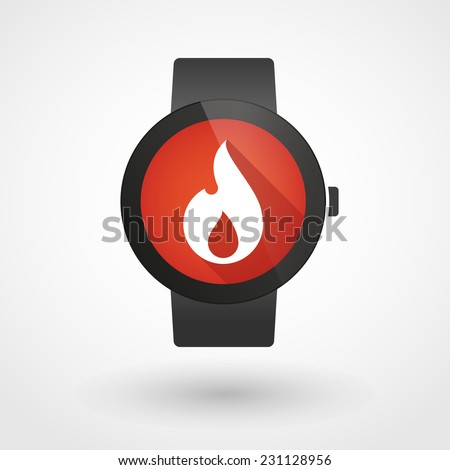 Illustration of a isolated smart watch icon with a flame - stock vector