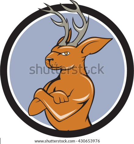 Illustration of a jackalope, a mythical animal of North American folklore described as a jackrabbit with antelope horns or deer antlers with arms crossed  set inside circle done in cartoon style.  - stock vector