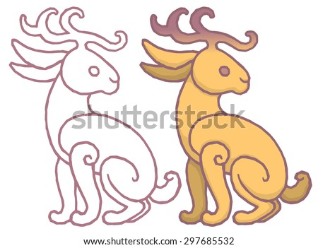 Illustration of a jackalope, a mythical animal of North American folklore jackrabbit with antelope horns or deer antlers - cartoon style isolated background. - stock vector