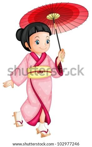 illustration of a japanese geisha - stock vector