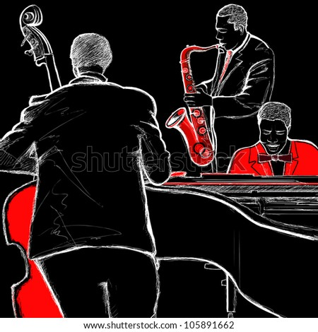 illustration of a jazz band with double-bass piano and saxophone - stock vector