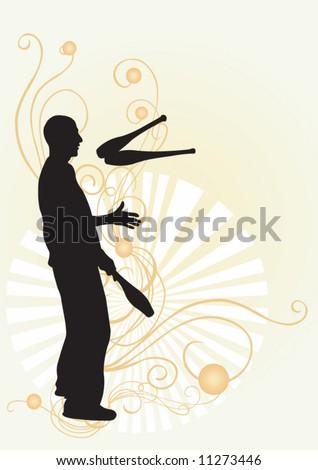 Illustration of a juggler - stock vector