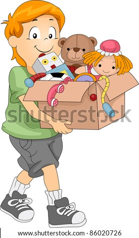 Illustration of a Kid Carrying a Box Full of Toys for Donation or Organizing - stock vector