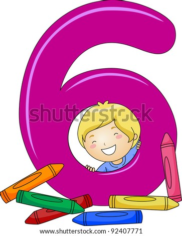 Illustration of a Kid Checking Out Crayons - stock vector