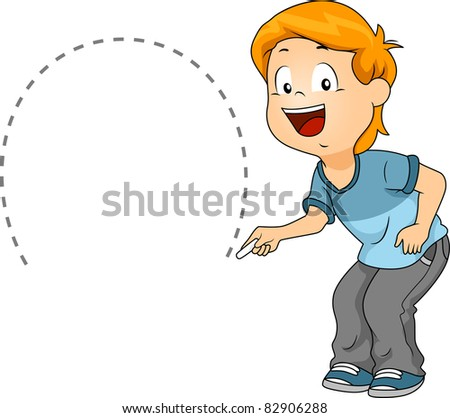Illustration of a Kid Drawing a Semicircle - stock vector