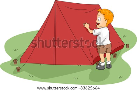 Illustration of a Kid Fixing His Tent - stock vector