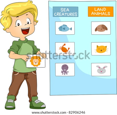 Illustration of a Kid Grouping Animals Together - stock vector