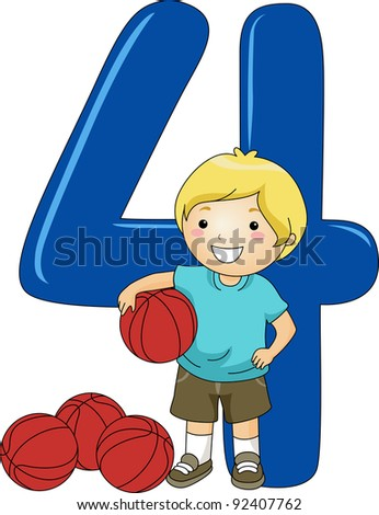 Illustration of a Kid Holding a Ball - stock vector