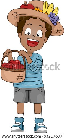Illustration of a Kid Holding a Basket of Apples - stock vector