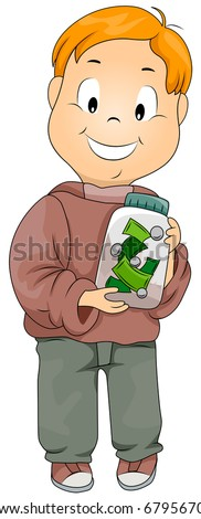 Illustration of a Kid Holding a Jar Filled with Money