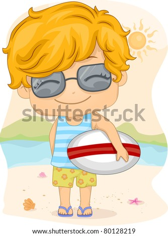 Illustration of a Kid Holding a Surfboard - stock vector