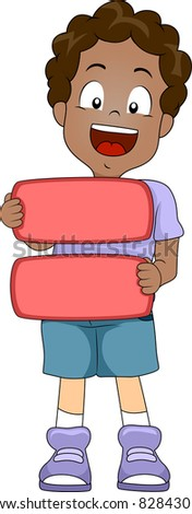 Illustration of a Kid Holding an Equal Sign - stock vector
