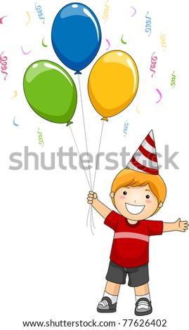 Illustration of a Kid Holding Birthday Balloons - stock vector