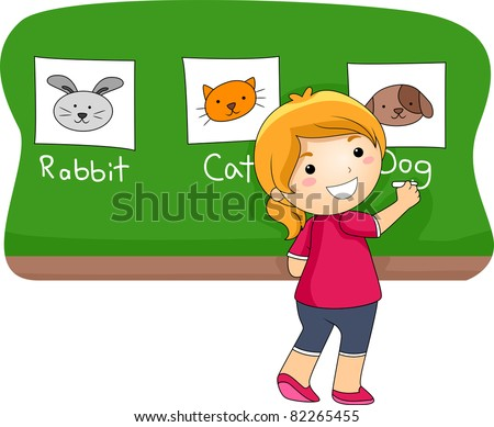 Illustration of a Kid Identifying Animals - stock vector