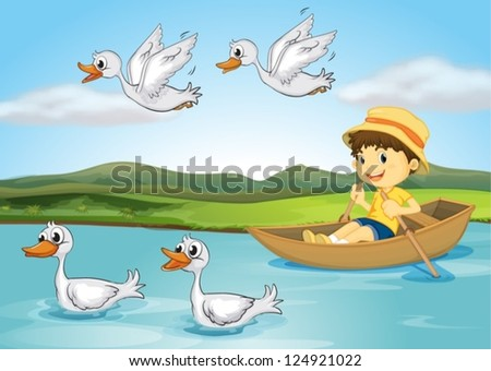 Illustration of a kid on a boat and flying and swimming ducks - stock vector
