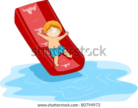 Illustration of a Kid Playing in the Pool Side - stock vector