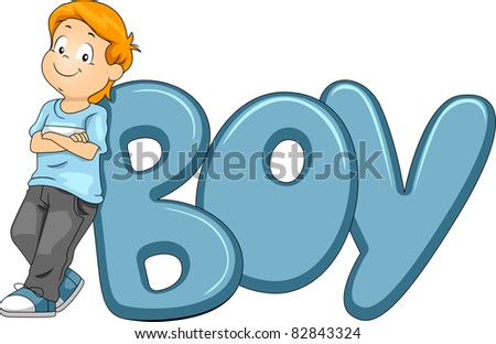 Illustration of a Kid Posing Beside the Word Boy - stock vector