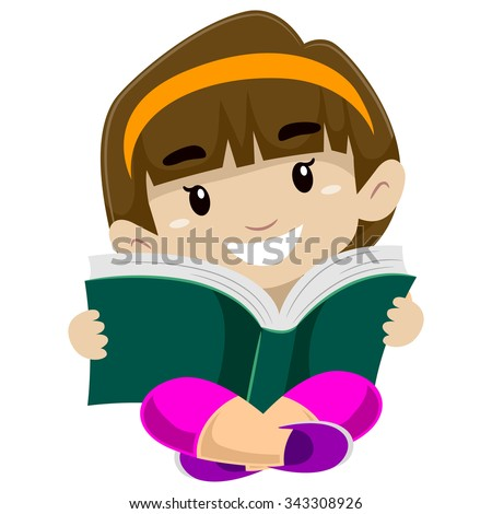 Illustration of a kid reading a book - stock vector