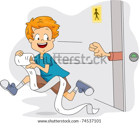 Illustration of a Kid Stealing Toilet Paper - stock vector