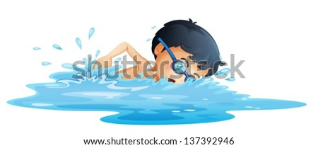 Illustration of a kid swimming on a white background - stock vector