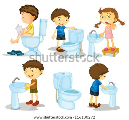 illustration of a kids and bathroom accessories on a white background - stock vector