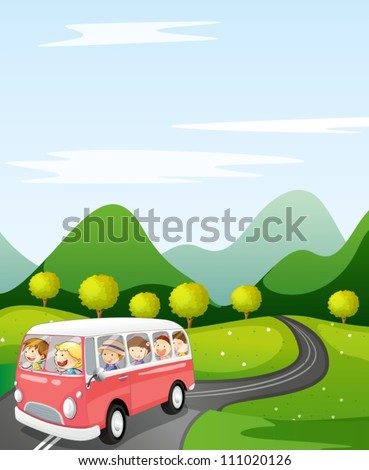 illustration of a kids in a bus in a beautiful nature
