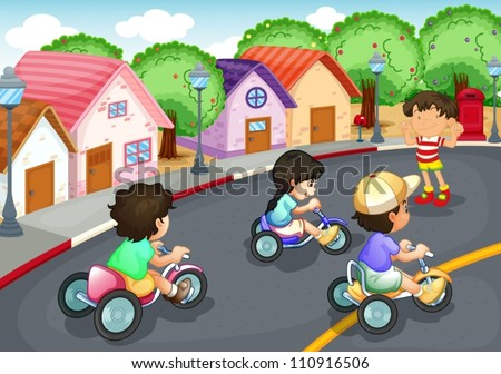 illustration of a kids playing on the road - stock vector