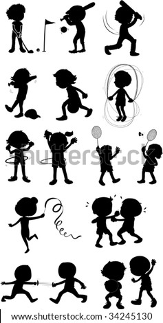 Illustration of  a kids playing sports on white - stock vector