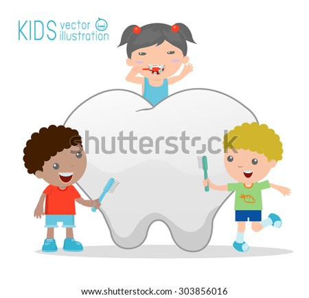 Illustration of a kids Using a Toothbrush to Clean a Giant Tooth, Illustration of Kids Brushing a Tooth, Illustration of kids Brushing Their Teeth Together, Vector Illustration - stock vector
