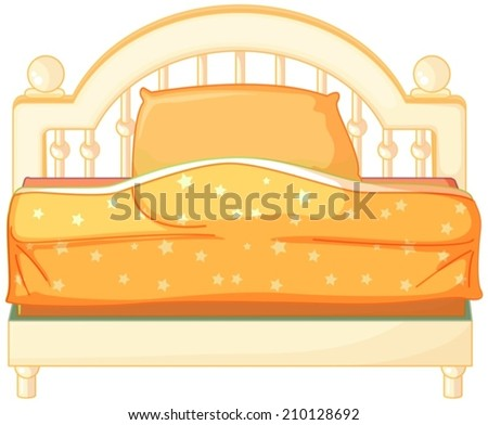 Illustration of a king sized bed on a white background - stock vector