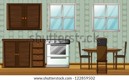 Illustration of a kitchen in a house - stock vector