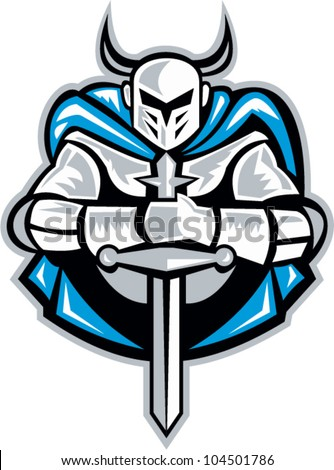 Illustration of a knight with sword facing front done in retro woodcut style. - stock vector