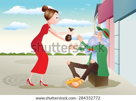 illustration of a lady give money to hungry beggar Homeless man on city background - stock vector
