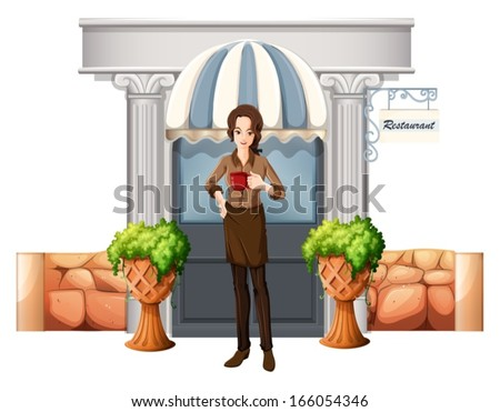 Illustration of a lady in front of the restaurant on a white background - stock vector