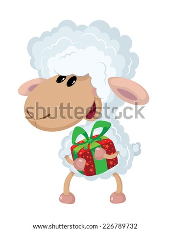 illustration of a lamb and gift - stock vector